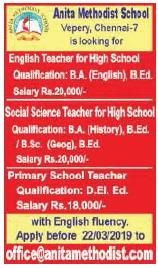Anita Methodist School Wanted Primary/High School Teachers