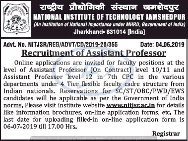 Recruitment of Assistant Professor- NIT Jamshedpur- 63 Post
